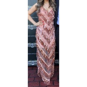 Aidan by Aidan Mattox Sequin Fringe V-neck dress